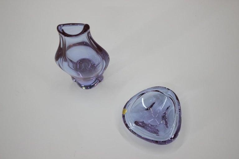 Czech Set of Ashtray and Vase/Železnobrodské Sklo, 1960s For Sale