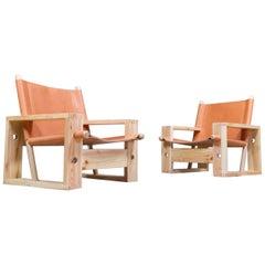 Set of Ate Van Apeldoorn Lounge Chairs in Pine and Leather, Model 'stokkenstoel'