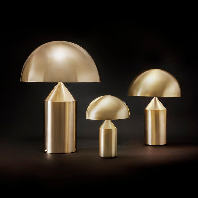 Italian Set of 'Atollo' Large and Medium Gold Table Lamp Designed by Vico Magistretti For Sale