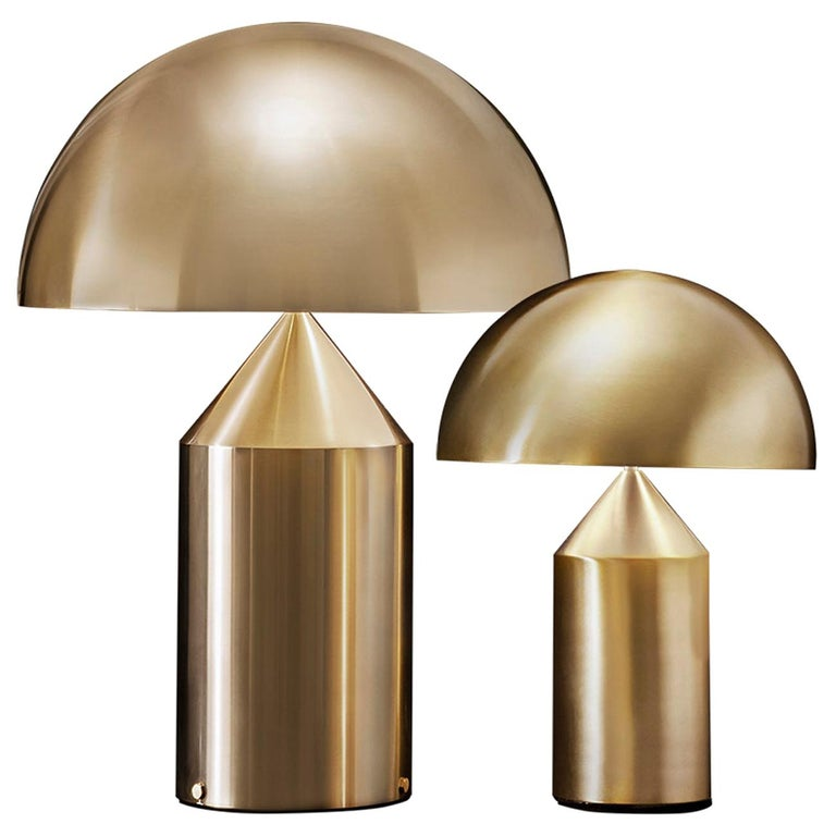 Set of 'Atollo' Large and Medium Gold Table Lamp Designed by Vico Magistretti For Sale