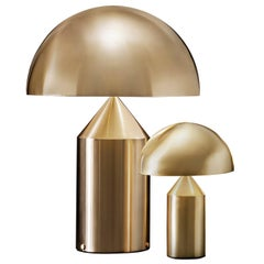 Set of 'Atollo' Large and Small Gold Table Lamp Designed by Vico Magistretti