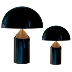 Set of 'Atollo' Medium and Small Black Table Lamp Designed by Vico Magistretti