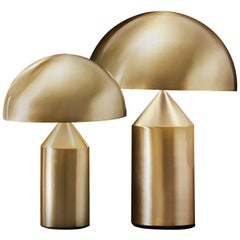 Set of 'Atollo' Medium and Small Gold Table Lamp Designed by Vico Magistretti