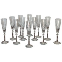 "Set of Baccarat Crystal 12 Champagne Flutes ""Harcourt Eve"" Stemware, France, New"