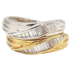 Set of Baguette Diamond Wave Fluted 18 Karat White and Yellow Gold Band Rings