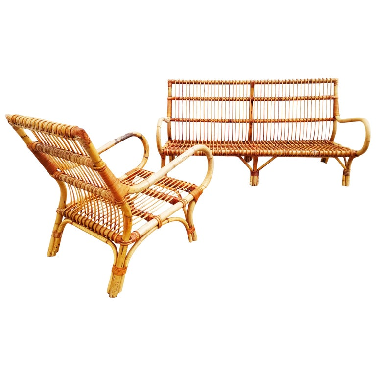 Set of Bamboo and Rattan Armchair and Sofa, Italy, 1960s For Sale