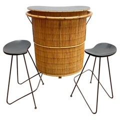 Mid-Century Modern Set of Bamboo Bar and 2 High Stools, 1960s