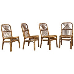 Set of Bamboo Midcentury Chairs  Design 1950s Italian Style