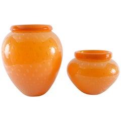 Set of Barbbini Italian Orange Obal Form Murano Glass Vases