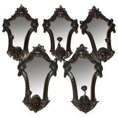 Set of Baroque Style Softwood Girandoles