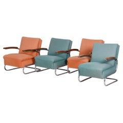 Set of Bauhaus Tubular Chrome Armchairs by Mücke Melder, Original Fabric, 1930s