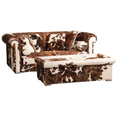 Set of Baxter Brown and White Cow Fur Leather Sofa and Ottoman, Italy, 1990s