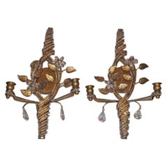 Set of Beaded Gilt Metal & Crystal Sconces, Sold Individually