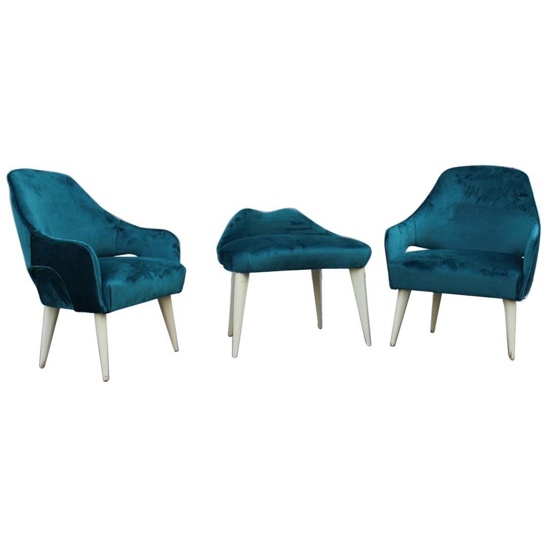 Set of Bedroom Armchairs the 1950s Italian Design Green Velvet Feet Lacquered