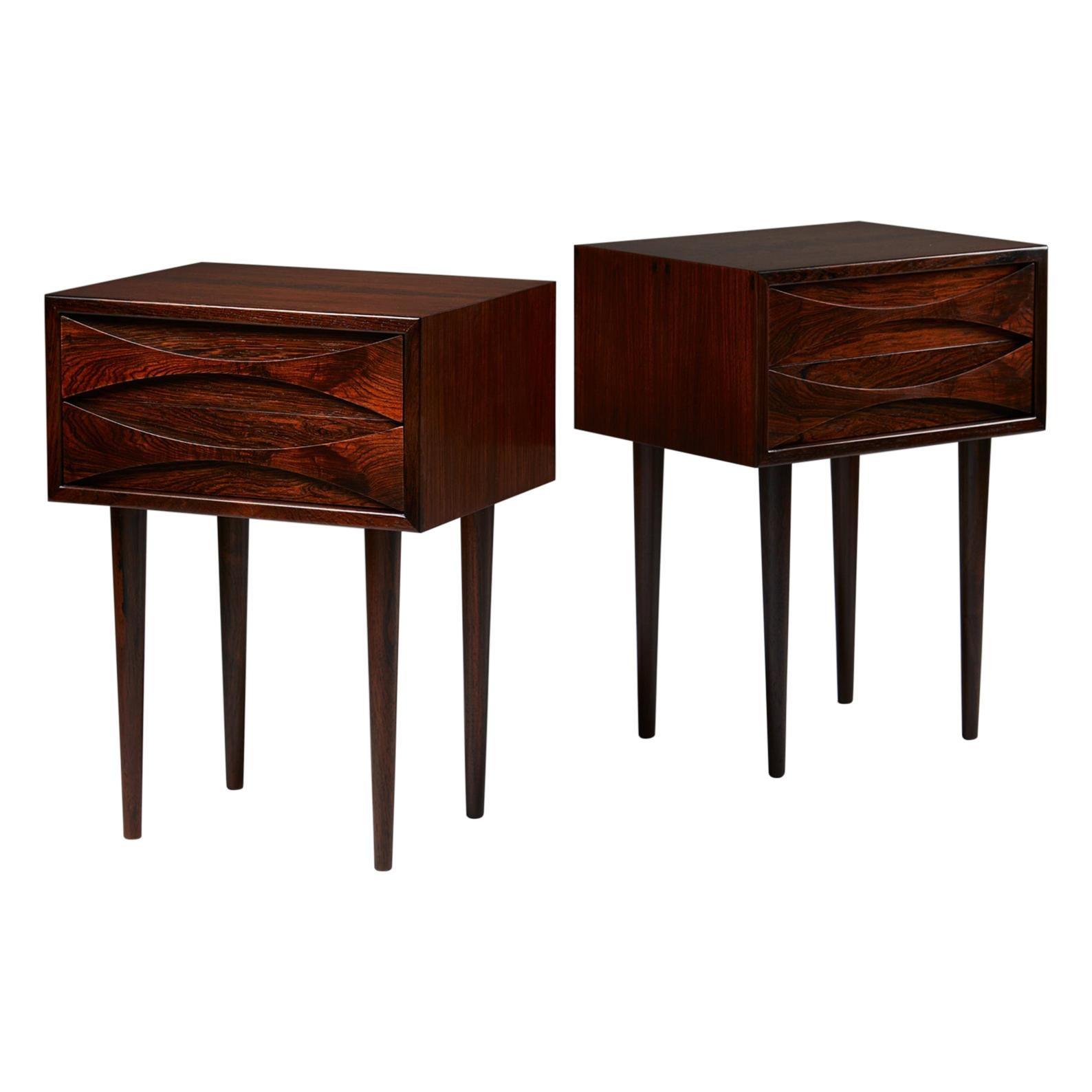 Set of Bedside Tables Designed by Niels Clausen for N.C. Möbler Odense, Denmark