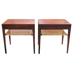 Set of Bedside Tables in Rosewood and Papercord Shelf by Severin Hansen, 1960s