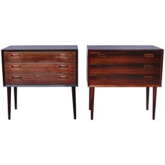 Set of Bedside Tables or Chests in Rosewood of Danish Design from the 1960s