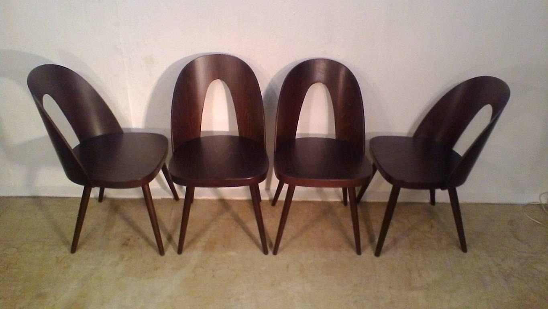 Czech Set Of Beechwood Chairs, Design Antonín Šuman, 1960s For Sale