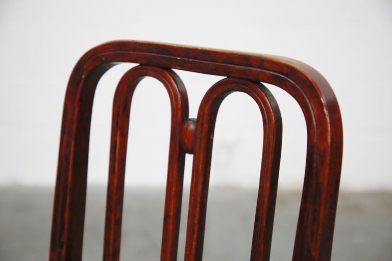 Set of Bentwood Dining Chairs by Josef Hoffmann for Thonet, circa 1920s, Signed For Sale 7