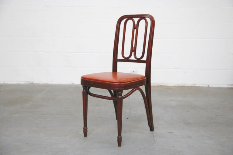 American Set of Bentwood Dining Chairs by Josef Hoffmann for Thonet, circa 1920s, Signed For Sale