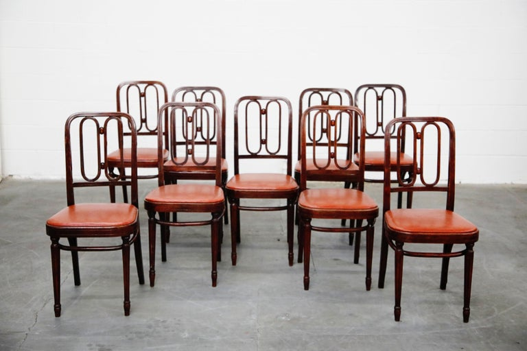 Set of Bentwood Dining Chairs by Josef Hoffmann for Thonet, circa 1920s, Signed For Sale 2