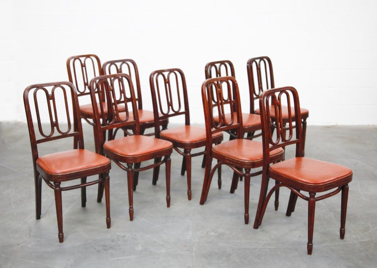 Set of Bentwood Dining Chairs by Josef Hoffmann for Thonet, circa 1920s, Signed For Sale 3