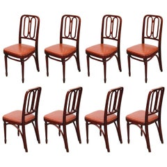 Set of Bentwood Dining Chairs by Josef Hoffmann for Thonet, circa 1920s, Signed