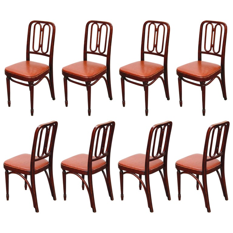 Set of Bentwood Dining Chairs by Josef Hoffmann for Thonet, circa 1920s, Signed For Sale