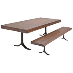 Set of Bespoke Two Joint Slabs Antique Reclaimed Hardwood, Dining Table & Bench