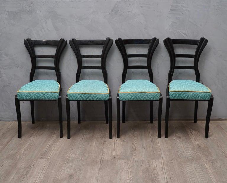 Silk Set of Biedermeier Chairs, 1820 For Sale