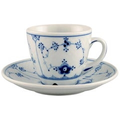 Set of Bing & Grondahl Blue Fluted Hotel Coffee Cup with Saucer