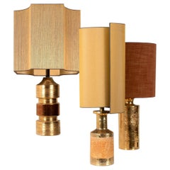 Set of Bitossi Table Lamps, with Custom Made Silk Shades by Rene Houben