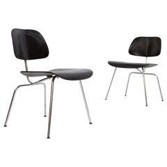 Set of Black Eames DMC Dining Chairs, Produced by Vitra