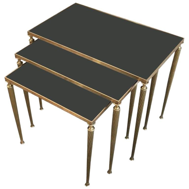 Set of Black Glass and Brass Nesting Tables