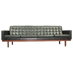 Set of Black Leather 4-Seat Sofa and 2 Lounge Chairs by Karl Erik Ekselius