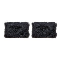 Set of Black Mongolian Lamb Hair Lumbar Pillows