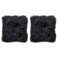 Set of Black Mongolian Lamb Hair Throw Pillows