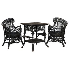 Set of Black Rattan Seats and Table by Heywood and Wakefield, Early 20th Century