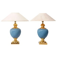 Set of Blue and Gold Ceramic Table Lamps, Hollywood Regency, 1970s