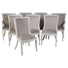 Set of Bone Veneered Dining Chairs by E Garcel