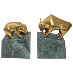 Set of Bookends with a Bull and Bear