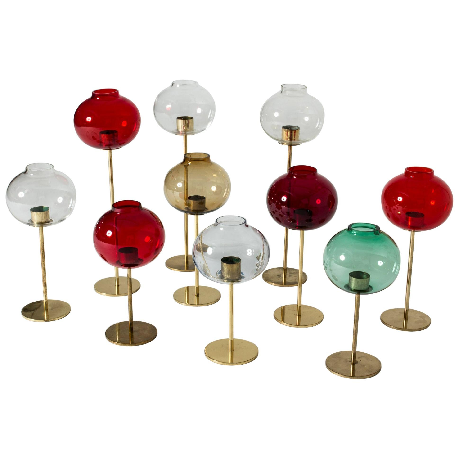 Set of Brass and Glass Candleholders by Hans-Agne Jakobsson