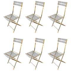 Set of Brass and Lucite Chairs by Galerie Maison & Jardin, France, 1970s