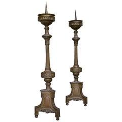 Set of Brass Antique Candlesticks, from a Church, France, 1880