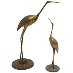 Set of Brass Crane Birds