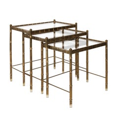 Set of Brass Faux Bamboo Nesting Tables