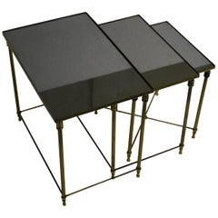 Set of Brass Neoclassical Nesting Tables, 1960s, France