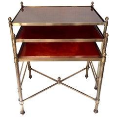 Set of Mid Century  Brass Nesting Table Jansen Style
