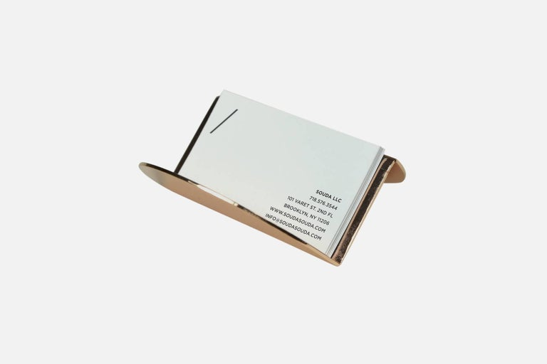 Modern Set of Brass Pen Brick and Wave Business Card Holder from Souda, in Stock For Sale
