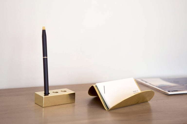 Plated Set of Brass Pen Brick and Wave Business Card Holder from Souda, in Stock For Sale